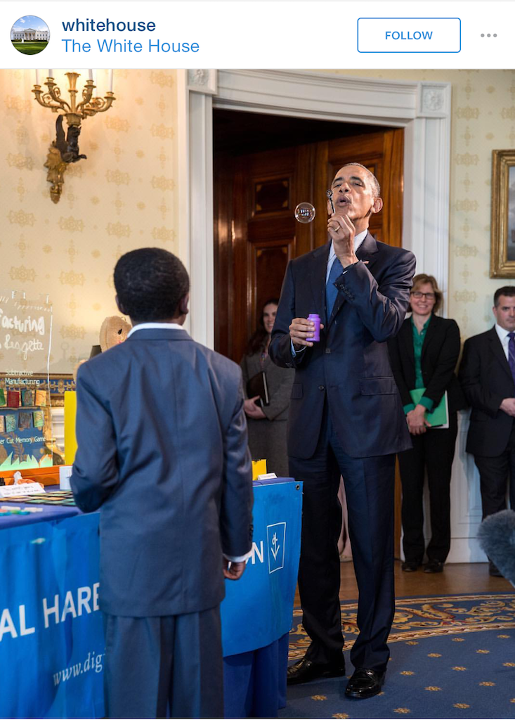 President Obama testing Jacob's custom 3D Printed bubble wands, via White House Instagram