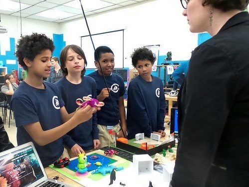 Fed Hill Prep team describing their FabSLAM project