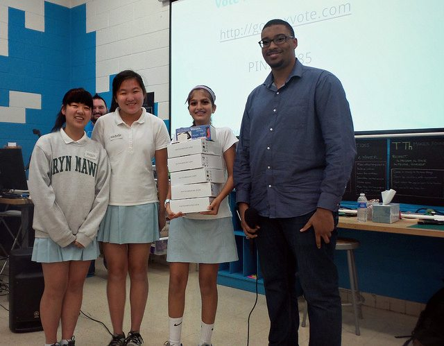 Bryn Mawr School team with prize package and FabSLAM judge