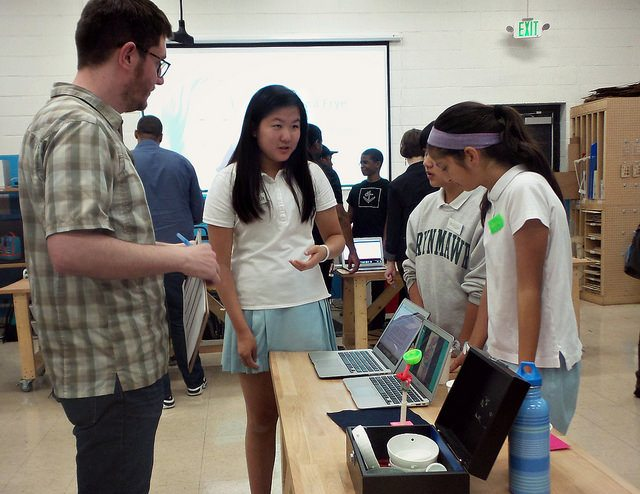 Bryn Mawr School team describes project to FabSLAM judge