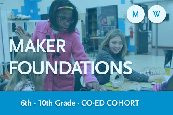 Three Maker Foundations youth working at a table -- Monday and Wednesday co-ed Member cohort
