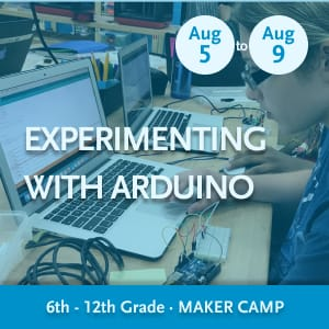 Experimenting With Arduino Maker Camp -- Youth writing code on a laptop and wiring an Arduino and breadboard