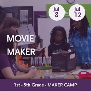 Movie Maker Camp -- Youth planning a project and sharing ideas while standing at a workstation