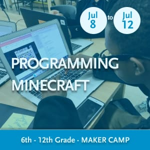 Programming Minecraft Maker Camp -- Youth writing Python code and interacting with Minecraft on a laptop