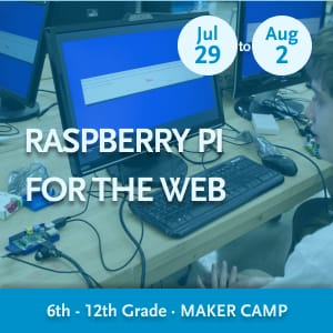 Raspberry Pi for the Web Maker Camp -- Youth working with a Raspberry Pi and a laptop