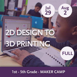 2D to 3D Design Maker Camp -- Youth working at a table with computer and notebook