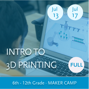Intro to 3D Printing Maker Camp -- Youth working actively with 3D design software